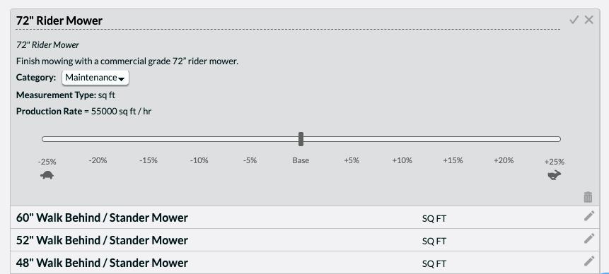 Instant Estimating software Global Efficiency Slider adjusts to landscape crew speed